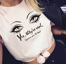 Fashion Summer Best Friends Tees Women T Shirt Lash Mascara Yes Theyre Really Eyes Printed Funny T Shirts