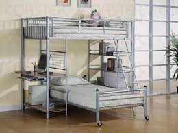 twin over twin metal loft bed with desk and shelves