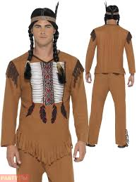 s native indian costume mens western warrior fancy dress outfit