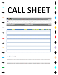 Sample Sales Call Sheet - Beni.algebra-Inc.co