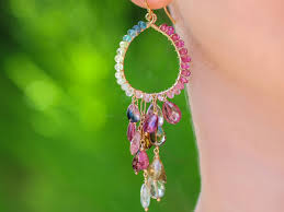 the arabella earrings watermelon tourmaline chandelier earrings in sterling silver