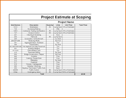 project estimate template itinerary template sample project cost estimate template excel pictures