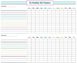 Bill Planner Template Planner Template Free Free Monthly