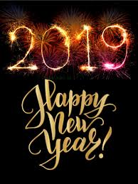 Colorful Explosion Happy New Year Card 2019 As If Fireworks On New