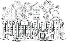 Flower Garden Coloring Page Birds Canvas Print Featuring The
