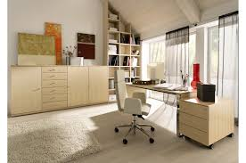 Office:Modern Minimalist Home Office Interior Design With Wooden Desk Table  And Stylish Orange Single