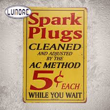 Ac Method Vintage Tin Sign Spark Plugs Cleaned Ac Method 5 Cents Each Wall