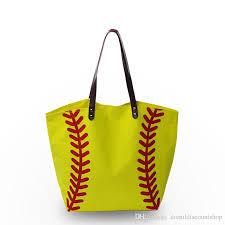 canvas material women handbag baseball softball sport tote bag with zipper pocket inside pu faux leather handle dom103281 jo totes handbags from