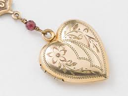 antique locket gold heart necklace gold filled locket heart locket with genuine red garnet flower charm leaf engraving photo locket
