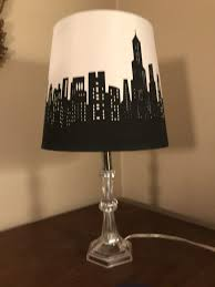 clear plastic table lamp base with cityscape silouette black white shade for in warren oh offerup