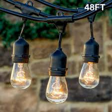 Amazon Patio Lights Twinkle Star 48 Ft Outdoor String Lights 15 Bulbs Patio Lights With 3 Spare Bulbs Waterproof For Porch Yard Patio Garden Balcony Decoration 1