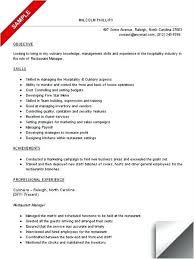 Restaurant Management Resumes Stunning Curriculum Vitae Management Skills Managerial Resume Restaurant