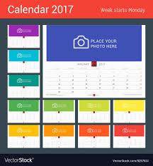 mothly calendar wall monthly calendar for 2017 year design print vector image