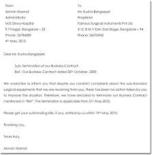 Temination Letter Employee Contract Termination Letter Sample