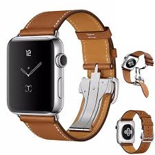 new upscale folding buckle fine genuine leather bands for apple watch band 42mm 38mm for iwatch 3 2 1 strap bracelet belt the band watch band watches