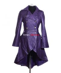valentina purple las military corset style designer real leather flare coat