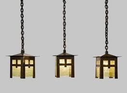 gustav stickley set of three lanterns model no 673 circa