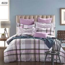 um image for purple grey duvet covers new fashion 100 cotton purple grey plaids bedding set