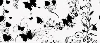 無料素材 チョウや植物の蔦に花などを組み合わせたフォトショップ用