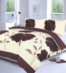 off white chocolate brown super king size duvet cover bedding bed set fl co uk kitchen home