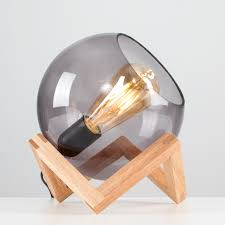 Cruz Glass Globe With Wood Stand Table Lamp Value Lights