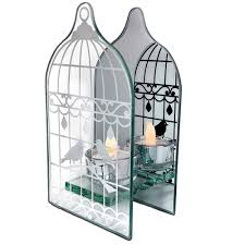 Tea Light Birdcage Banberry Designs Birdcage Shaped Tea Light Holder Mirrored Glass Infinity Candle Holder With Love Birds In A Vintage Bird Cage Wedding Home Decor