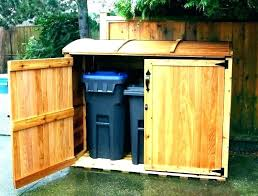 outdoor trash can holder kitchen storage wood containers wooden with lid bin garbage shed regarding plans outdoor trash can holder