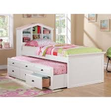 kids twin beds with storage. Fine Storage White Kids Girls Bookcase Twin Bed Storage Trundle Drawers With Beds T