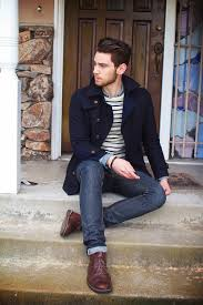 a navy pea coat and navy jeans are a nice combination that will earn you the