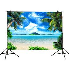 Hellodecor Polyster 7x5ft Photography Backdrops Tropical Sunlight Blue Sky Beach Seawater Coconut Trees Summer Birthday Party Banner Photo Studio