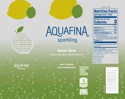 the updated nutrition facts label as seen on aquafina lemon lime sparkling water beverage image courtesy of label insight