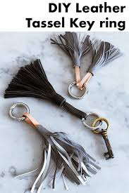 these simple key rings are made from homemade leather tassels