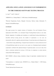 Design Of Experiments Software Testing Pdf Applying Simulation And Design Of Experiments To The