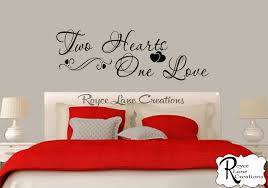 Love Bedroom Decor Bedroom Wall Decal Two Hearts One Love Bedroom Decal Bedroom