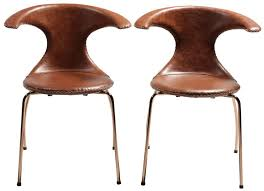 flair light brown leather dining chair with copper legs set of 4