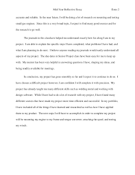 midyear reflective essay  2 mid year reflective essay
