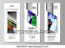 Flyers Flag Roll Up Banner Stands Flat Design Templates Abstract Style