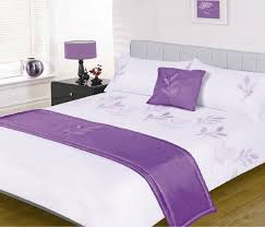 leaves white lilac purple 5 piece embellished bed in a bag double duvet set with bed