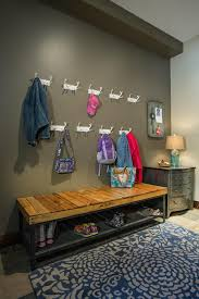 Coat Rack With Storage Baskets Decorations Simple Entryway Storage Bench Design With Iron Wire 32