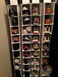 simple diy shoe rack storage behind the door for small and narrow closet spaces ideas