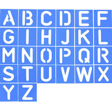 shappy 26 pieces plastic letter stencil alphabet stencils set for painting learning diy blue