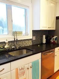 counterop and backsplash glass tile