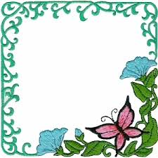 frame5 - Butterfly & Flowers Frame - Machine Embroidery Design
