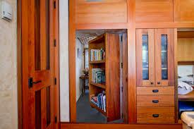 Interior:Awesome Secret Room Design With Wooden Bookaase Door And Cream  Flooring Ideas Nice Looking