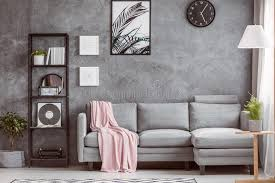 Stylish Living Room With Clock Stock Photo Image of interior