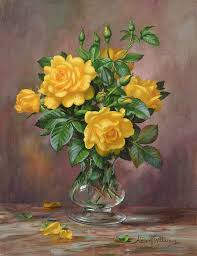 still life painting radiant yellow roses by albert williams
