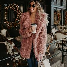 women fluffy faux fur coat winter warm fake fur pink jacket streetwear fashion female lapel loose