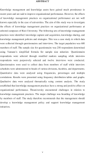 effects of knowledge management practices on organizational the aim of this study was to investigate the effects of knowledge management practices on organizational