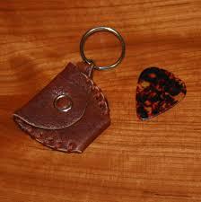 guitar pick holder brown red