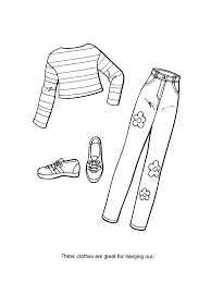 Barbie Fashion Clothes Coloring Page Free